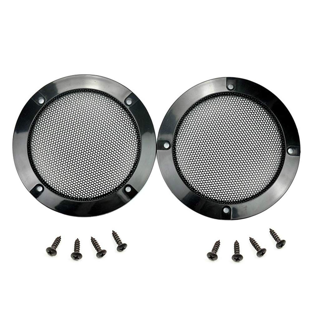 2 pcs Speaker Grills Cover Steel Mesh Protective Case with 8 pcs Screws for 116 mm Outer Speaker Mounting - 4.88'/124mm Outer Diameter Black Speaker Grills Mo-gu 4330170906