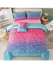 PERFEMET 6 Piece Rainbow Bedding Comforter Set Girls Bed in A Bag Pink Glitter Galaxy Bed Set with Comforter and Sheets