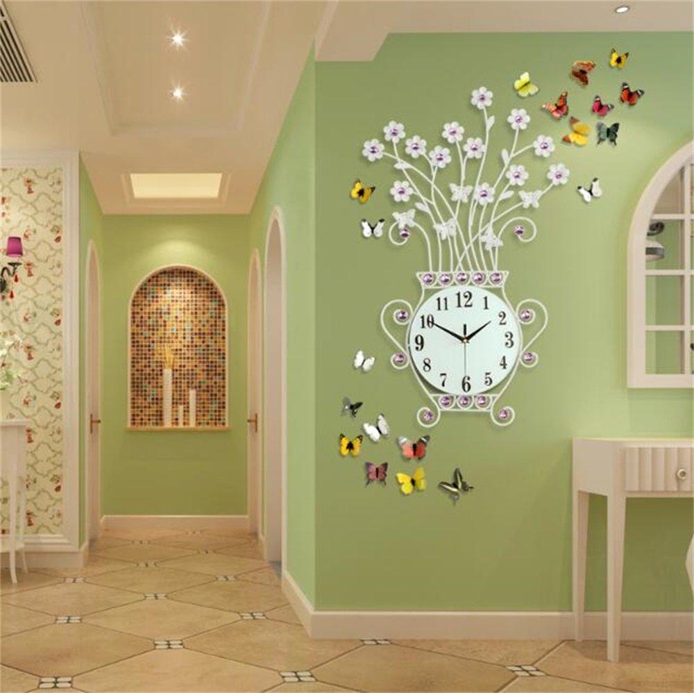 ウォールクロック居間寝室ヨーロピアンモダニズム花瓶吊り時計ファッション静かなクォーツ時計白黒金 (色 : 白, サイズ さいず : 49cm*76cm) B07D354VDC 49cm*76cm 白 白 49cm*76cm