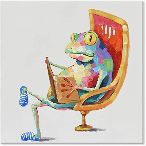 Japo Art 100 Hand Painted Oil Painting Funny Animal With Stretched Frame Wall Art For Living Room Ready To Hang Leisure Frog Is Reading Book 40 X 40 Inch Amazon Ca Home Kitchen