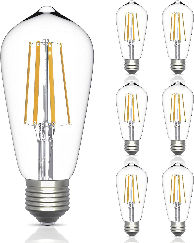 HFCDL Edison Led Light Bulbs Vintage E26 Medium Base Lamp, 6W(60W Incandescent Light Equivalent), 600 Lumen, 2700K Warm White, Dimmable Antique ST64 Filament Light Bulb Set for Home Décor, 6-Pack