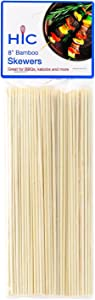 HIC Harold Import Co. 4413 Bamboo BBQ, Kabob and Grill Skewers, 8-Inches Long, Set of 100