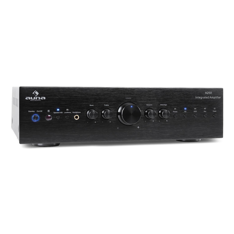 auna CD708 • Amplificatore Hi Fi • 600 W Max • 5 Ingressi RCA • Equalizzatore a 3 Bande • Telecomando • Pannello Frontale in Alluminio • Argento electr-st-pt-34460