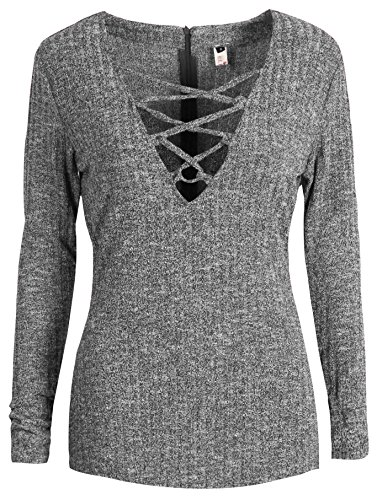 Buy grey v neck sweater with dress shirt - 7