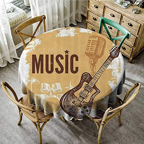 familytaste Table Cloth Round Rock Music,Vintage Sketch Hand Drawn Drums and Microphone Pattern Abstract Backdrop,Pale Coffee Brown D 36