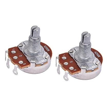 Sharplace 2 Piezas Audio Potenciómetro Pote para Guitarra Eléctrica Bass Partes A250K