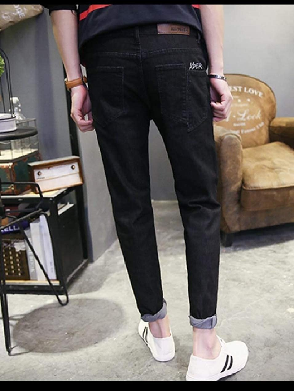 Winwinus Mens Wash Pocket Slim-Tapered Denim Pants Spring//Fall Jeans