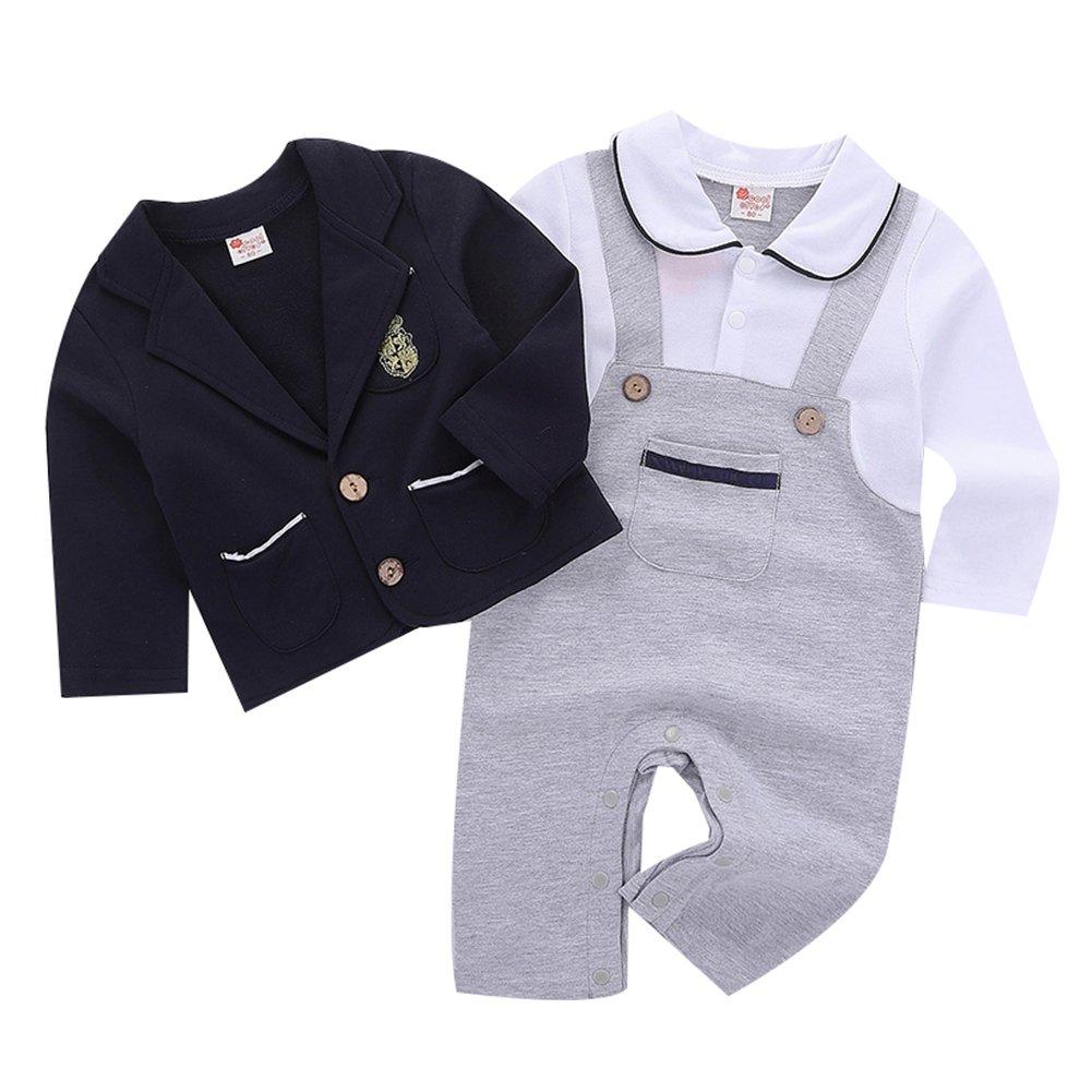 4e24ff753 Amazon.com  Baby Boys Romper Clothing Set Gentleman Tuxedo Suit ...
