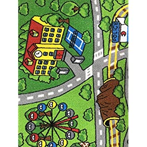 Large Kid Play Rug for Toy Cars,Safe and Fun Children Learning Carpet with Non-Slip Backing Kid Play mat for Playroom,Bedroom and Nursery (39″ x 51″)