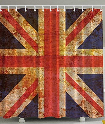 England Britain British Flag Patriot English Queen Grunge Made By Digital Printer Modern Home Bathroom Decoration Ideas Decorating Art Polyester Fabric Shower Curtain, Navy Orange Red White