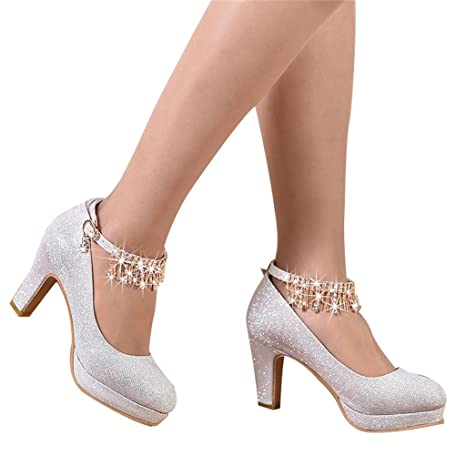 62765df49da Image Unavailable. ALUA- Bridal Shoes - Wedding Banquet Dress Shoes Silver  high Heels (with high 8cm