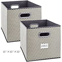 Cloth Storage Bins, Foldable Basket Cubes Organizer Container Drawers with Dual Plastic Handles for Closet, Bedroom, Toys, 2 Pack,Stripe Large(12x12x12 in)