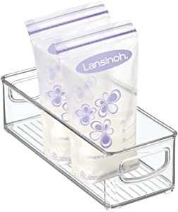 "mDesign Baby Food Kitchen Refrigerator Cabinet or Pantry Storage Organizer Bin with Handles for Breast Milk, Pouches, Jars, Bottles, Formula, Juice Boxes - BPA Free, 10"" x 4"" x 3"" - Clear"