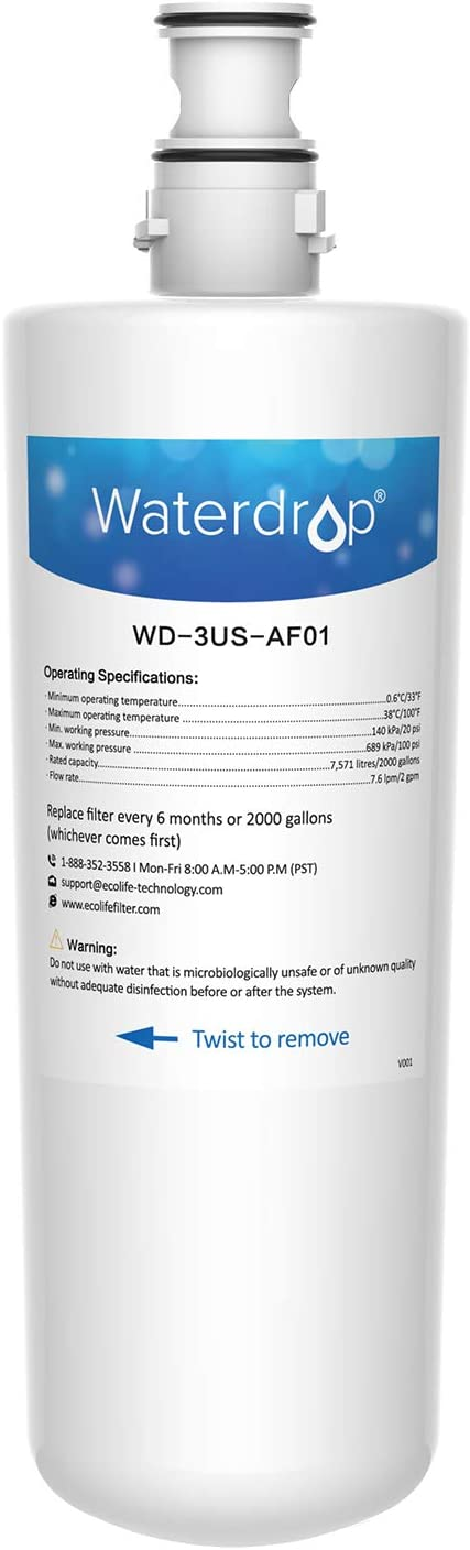 Waterdrop 3US-AF01 Undersink Water Filter, Compatible with Filtrete Standard 3US-AF01, 3US-AS01, Aqua-Pure AP Easy C-CS-FF, Whirlpool WHCF-SRC, WHCF-SUFC, WHCF-SUF, Pack of 1