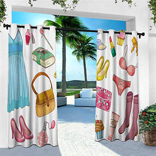 leinuoyi Heels and Dresses, Outdoor Curtain Set of 2 Panels, Fashionable Girlish Items Cartoon Style Cosmetics Boots Cupcakes Lipstick, Fashions Drape W120 x L96 Inch Multicolor