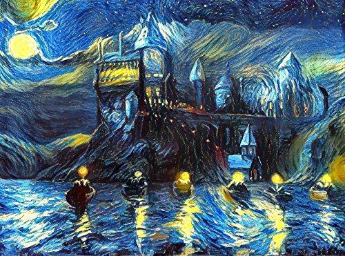 Starry Night Castle Night Boats 18 inch Art Print, Magical Merchandise, Van Gogh Starry Night, Fan, Birthday, Gift