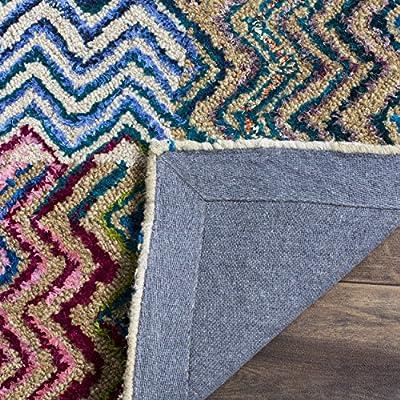 Safavieh Nantucket Collection NAN602A Handmade Abstract Checkered Chevron Beige and Brown Cotton Area Rug (5' x 8')