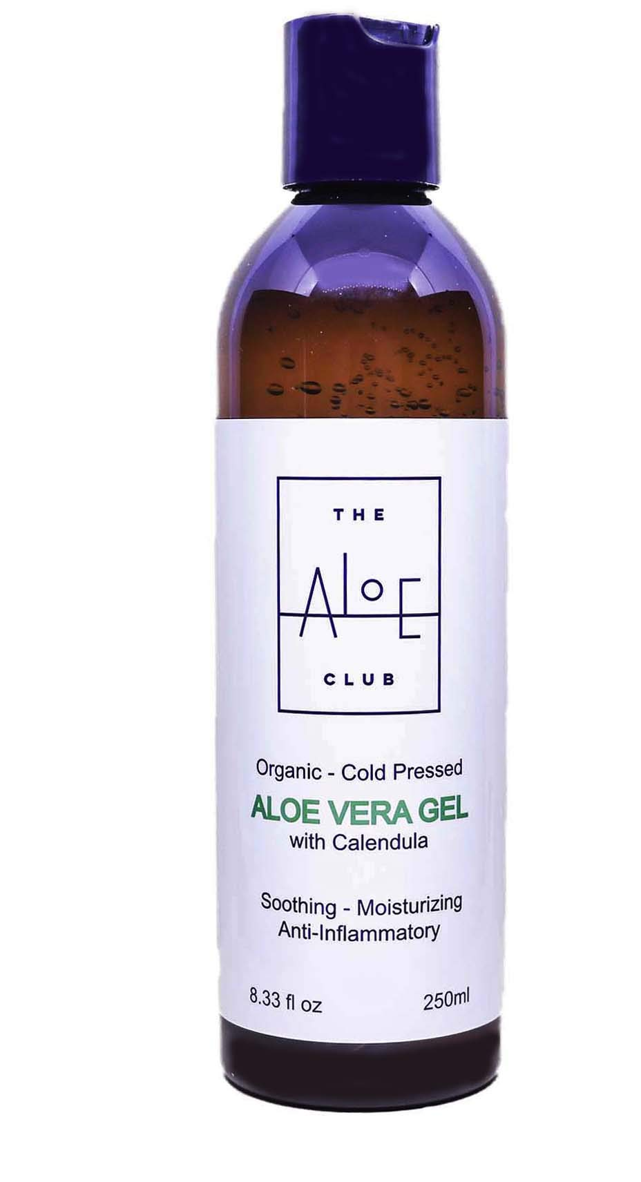 The Aloe Club Organic Aloe Vera from FRESH ORGANIC Aloes, not powder - NO POTASIUM SORBATE irritant, with Organic Calendula so it soothes and reduces redness, and has natural floral aroma