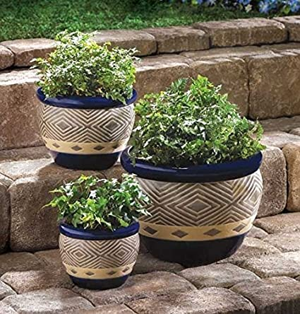 Perfect Garden Planters Home Office Patio Plant Holder Round Ceramic Pots Indoor U0026  Outdoor Decorative Set Of