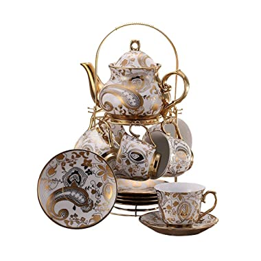 ufengke 13 Piece European Retro Titanium Ceramic Tea Set With Metal Holder, Porcelain Tea Cups Set, For Wedding, Golden Flower Painting