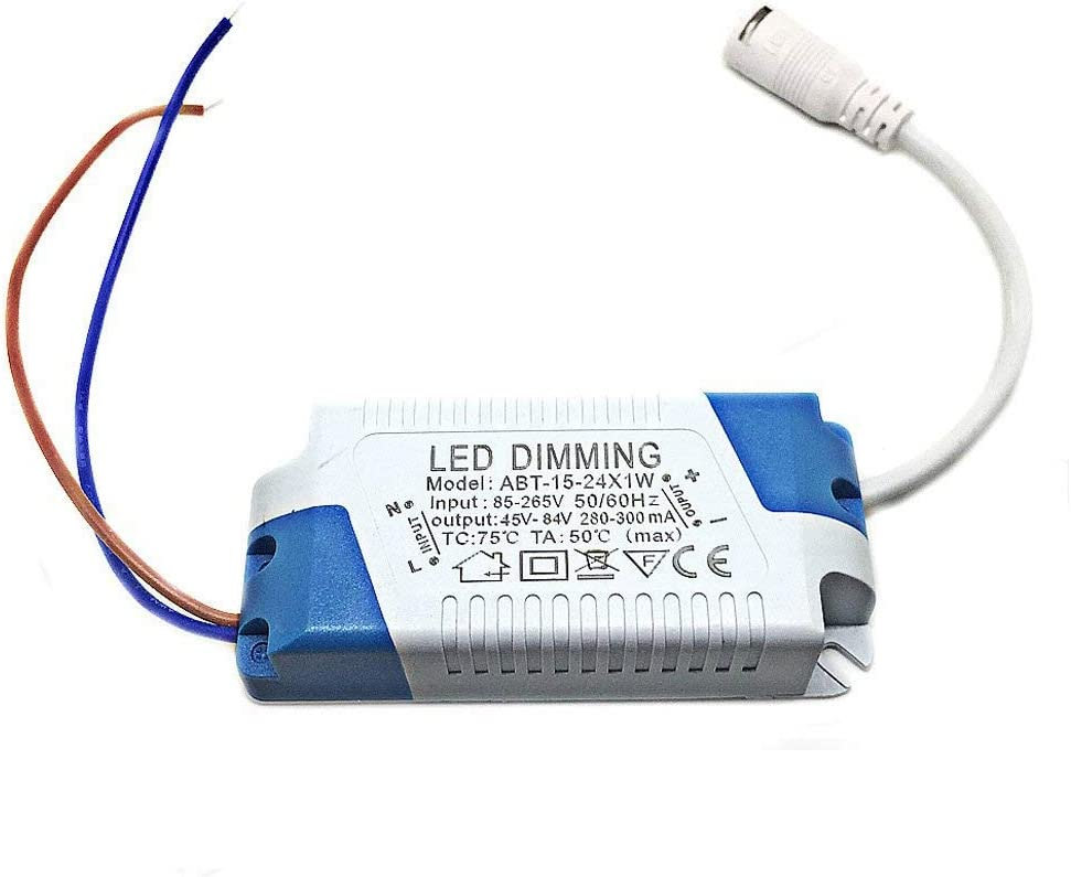 uxcell LED Driver 12-18W Constant Current 300mA High Power AC 85-265V Output 36-65V DC Connector External Power Supply LED Ceiling Lamp Transformer 2Pcs
