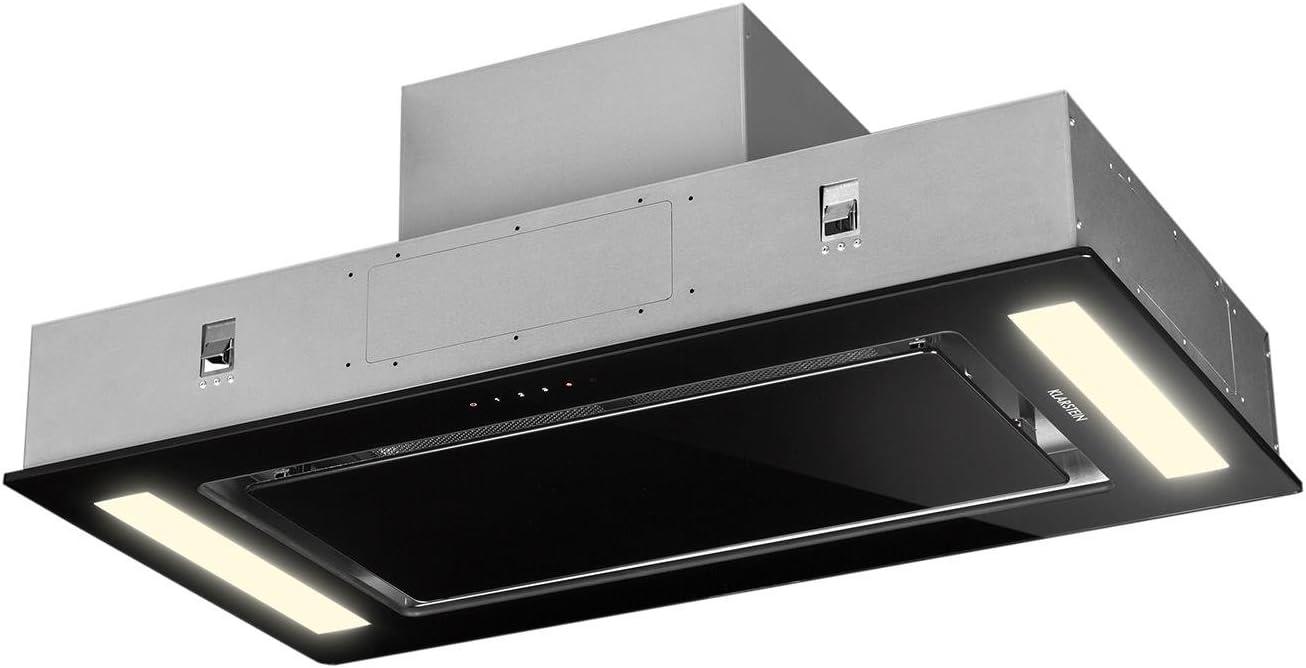 Klarstein Remy - Extractor de humos, Extractor bajo mueble, cubierto, Panel táctil, 90 cm, Hasta 620 m³/h, 2 filtros carbóno activo, Mando, Negro: Amazon.es: Hogar