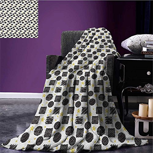 Black and Yellow park blanket Scribble Art Theme with Circles Squares and Stars Geometric Doodle soft blanket Black Yellow White size:51