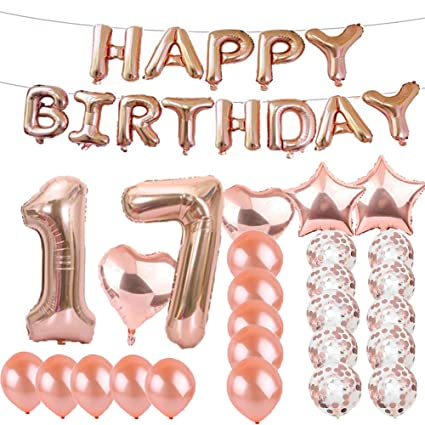 Sweet 17th Birthday Decorations Party SuppliesRose Gold Number 17 Balloons Foil Mylar