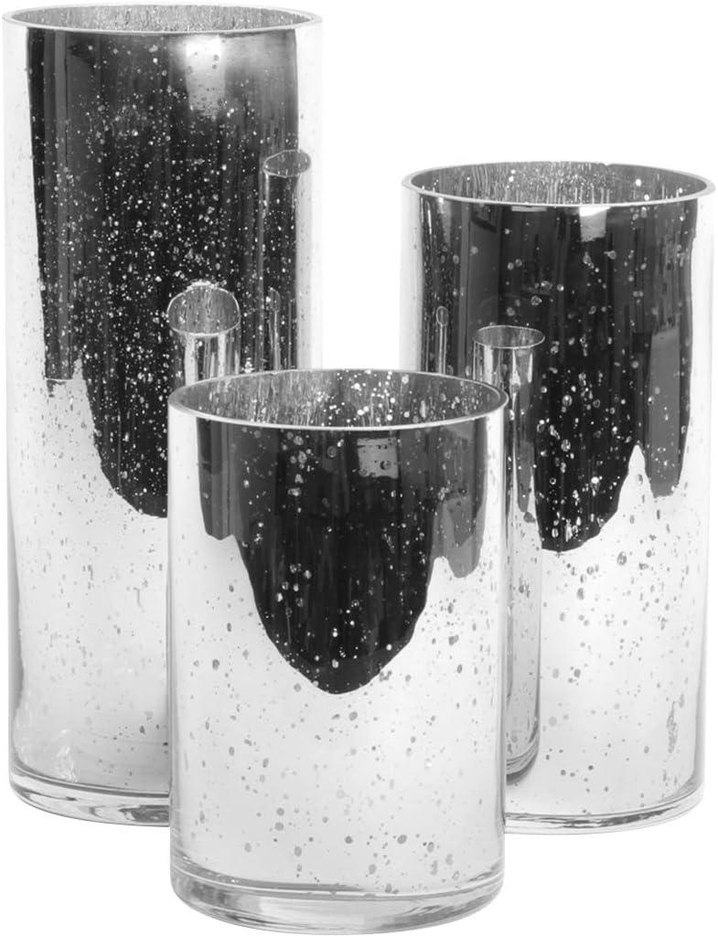 Koyal Wholesale Mercury Glass Cylinder Vases Set of 3 for Flowers, Floating Candles, Centerpiece Wedding Decor (Silver)