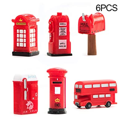 YESZ DIY Dollhouse Miniatures 6Pcs Vintage Bus Postbox Telephone Booth London Miniature Figurines Home Decor - 6pcs: Toys & Games
