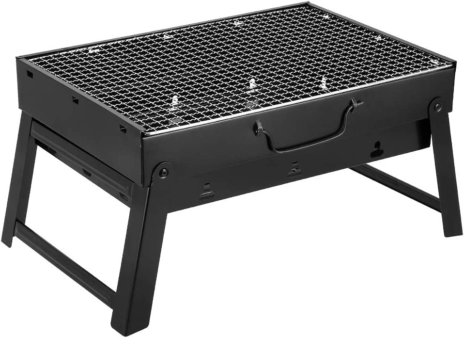 AGM Parrilla de Carbón, 43.5x30x24cm, Parrilla de Carbón Plegable Portátil para Picnic, viajes, patio o camping en el jardín (M:5-7 personas)