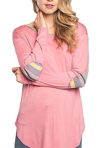Mujeres Dobladillo Curvo Llanura Parches Manga Larga Camiseta Blusa