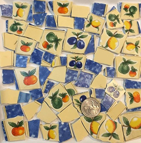 Mosaic Tile Art Supply for Mosaics & Crafts ~ Fruit Tiles with Oranges Plums Apples Lemons (T#554)