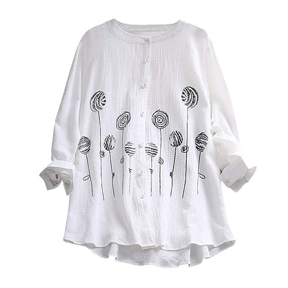 Damark(TM) Camisetas de Manga Larga para Mujer, Blusas para Mujer Verano Camisetas Mujer Camisas Mujer Tops Mujer Monos Mujer Verano Tallas Grandes Mujer ...
