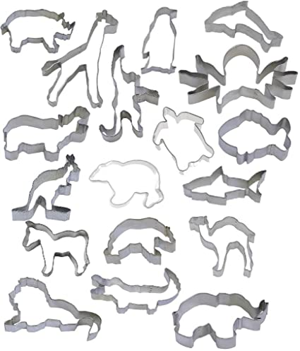 great quality more photos half price Amazon.com: 18 Piece Zoo Animal Cookie Cutter Set: Health ...