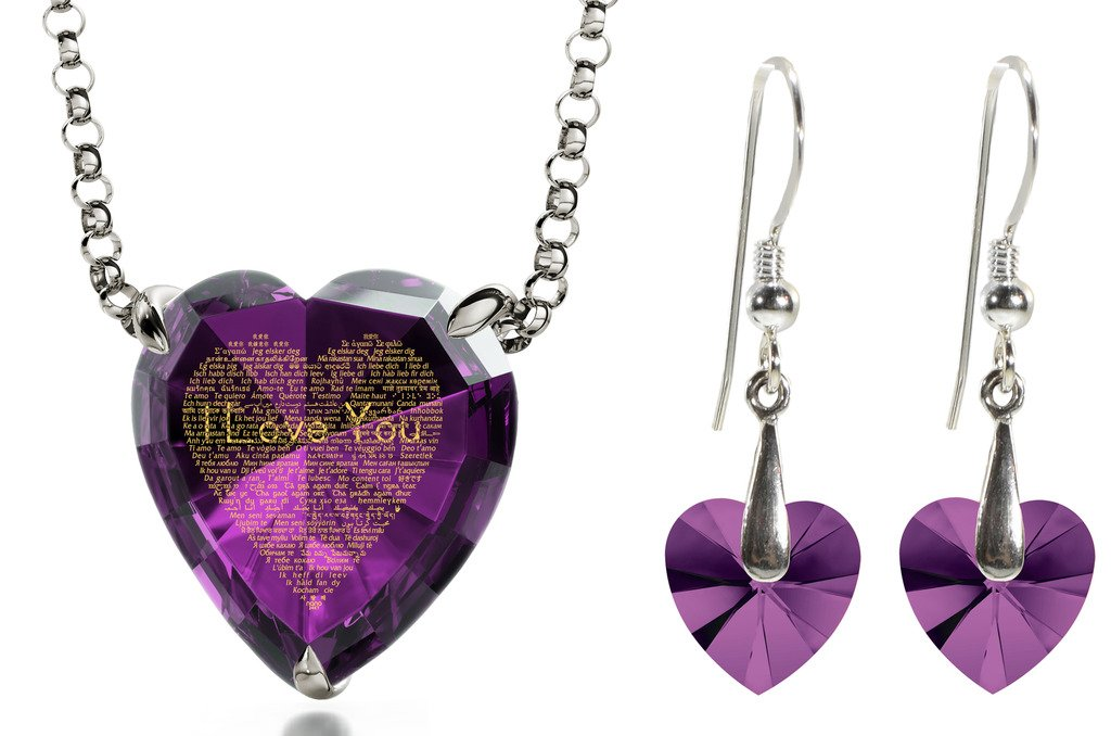 925 Silver I Love You Necklace 120 Languages Inscribed Purple Heart CZ and Crystal Earring Jewelry Set