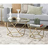 Walker Edison Geometric Glass Nesting Coffee Tables, Gold