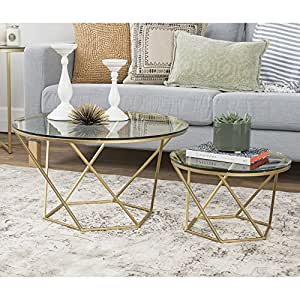 Superieur WE Furniture Geometric Glass Nesting Coffee Tables   Gold, Glass/Gold