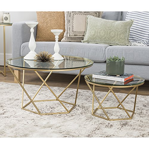 ic Glass Nesting Coffee Tables - Gold, Glass/Gold ()