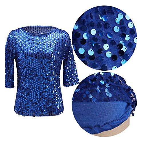 3 JLTPH 4 Tunique Soir Manches Shirt Courtes Blingbling Paillette Cocktail Femmes ZZqWT6g