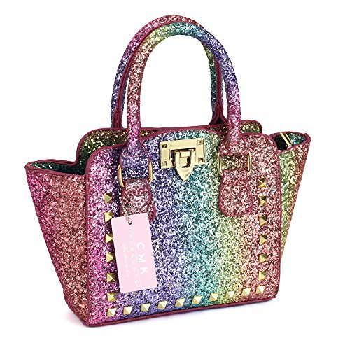 CMK Trendy Kids My First Shinny Glitter Rainbow Purse for Little Girls Toddlers Mini Tote with Poms (80003_Rainbow) by CMK Trendy Kids (Image #6)