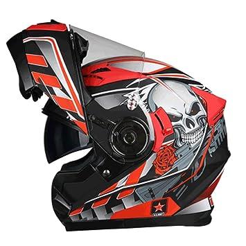 MERRYHE Unisex ABS Motocicleta Cara Completa Casco Lentes Dobles Motocross Cara Abierta Cuesta Abajo Flip Up