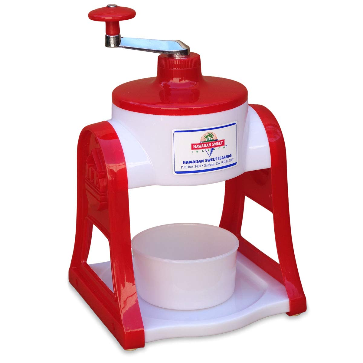 Deluxe Shave Ice Snow Cone Maker Ice Shaver Hand Crank, non-electric - RED