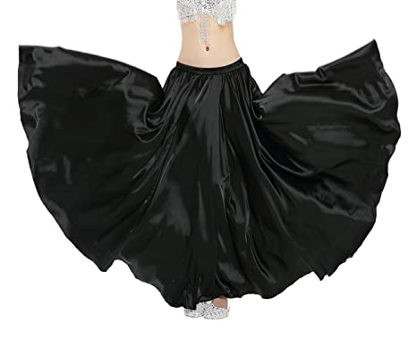 5349bba0df Amazon.com: Dance Fairy Belly Dance Long Satin Maxi Skirt,Black ...