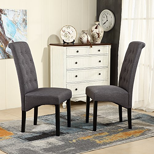 LSSBOUGHT Button-tufted Classic Accent Dining Chairs with Solid Wood Legs, Set of 2 (Gray) (Dining Room Set With Upholstered Chairs)