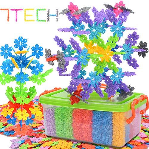 7TECH 1000 Pcs Snowflake Building Blocks Stem Educational Toys Set for Kids, Creative & Development Connecting Toy...