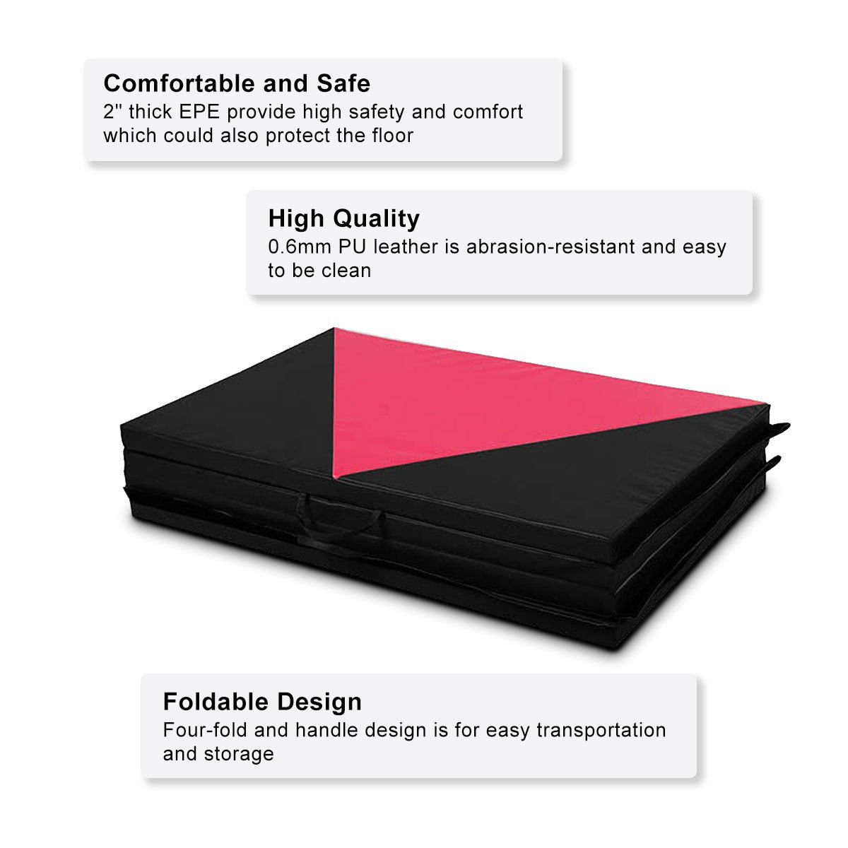 COSTWAY 4'X10'X2 Gymnastics Mat Folding Panel Thick Gym Fitness Exercise Pink/Black New by COSTWAY (Image #5)