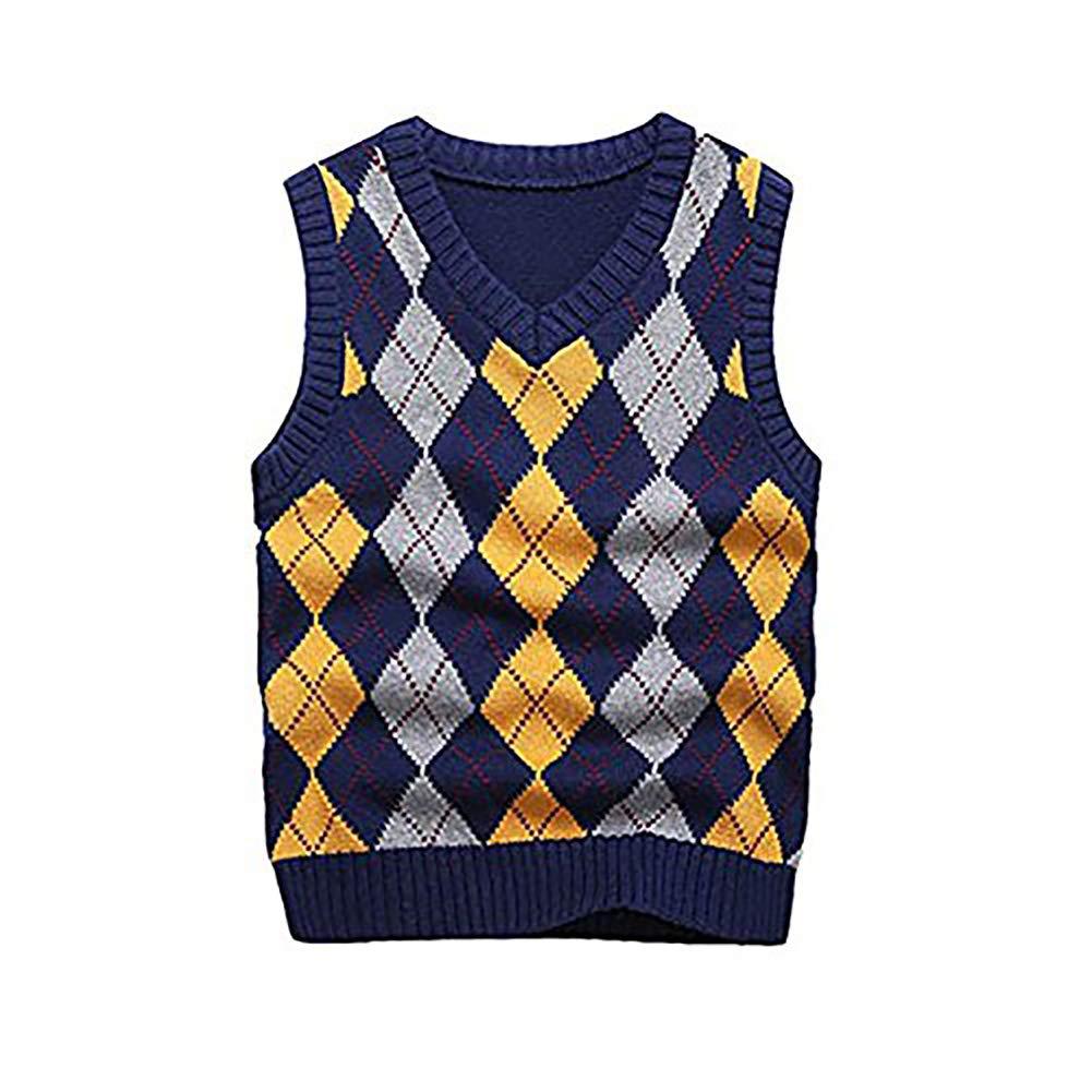 KID1234 Pullover Jungen Kinder Gestrickte Weste V-Ausschnitt ärmellose Sweatshirt Baumwolle Strickpullover Kinder Herbst Winter Kleidung