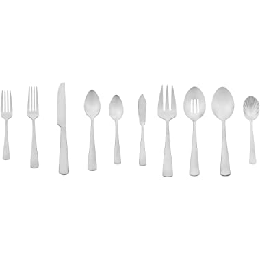 AmazonBasics 45-Piece Stainless Steel Flatware Set with Square Edge, Service for 8