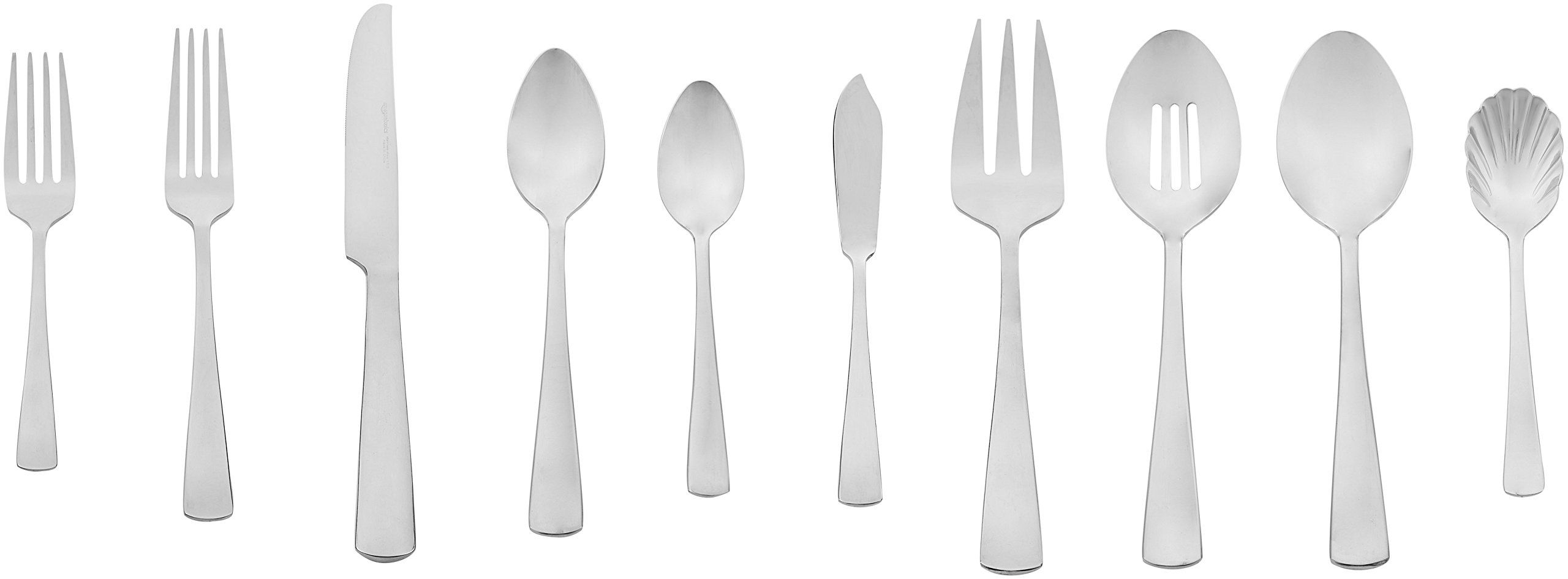 Amazon Basics 45-Piece Stainless Steel Flatware Set with Square Edge, Service for 8